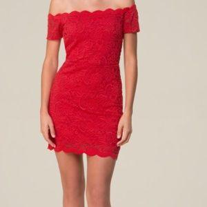 Bebe Lace Scallop Dress